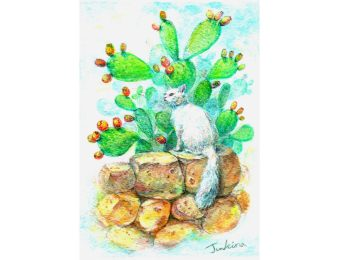 A white cat and prickly pears